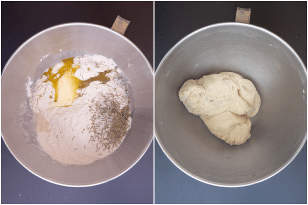mixing the ingredients in the mixing bowl and forming a dough.