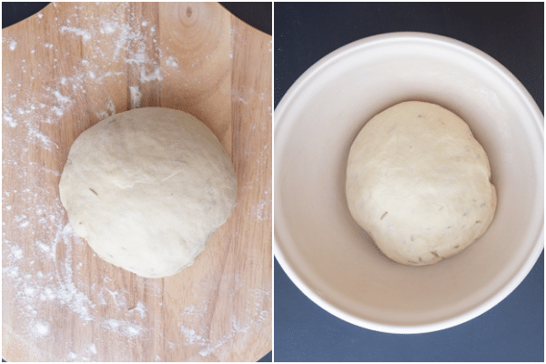 forming the dough into a ball and in the bowl before rising.