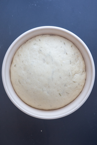 dough in a white bowl after rising.