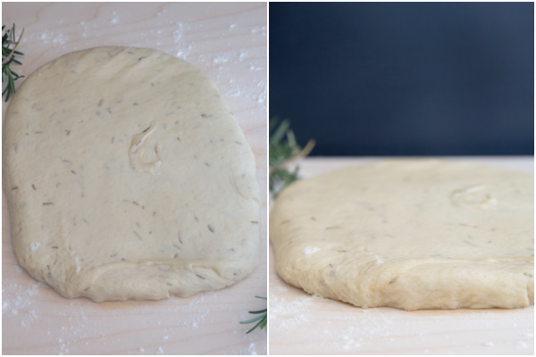 Forming the dough into a rectangle.
