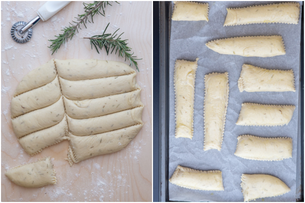 cutting the dough into strips and the strips on a parchment paper lined cookie sheet.