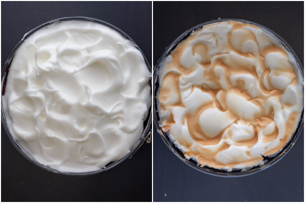 meringue on top of the filling before and after baked.