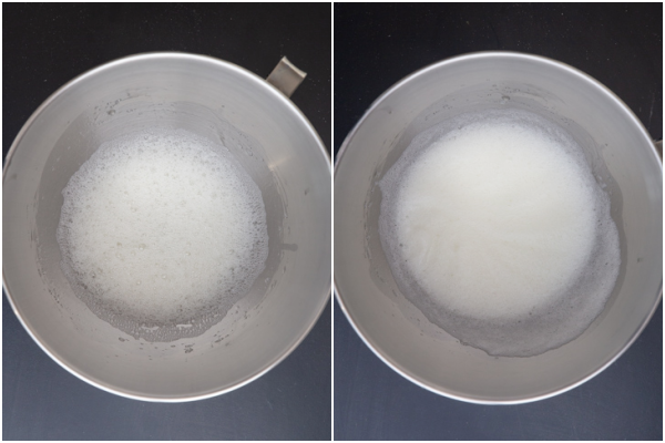 egg whites frothy and soft peaks in a silver mixing bowl.