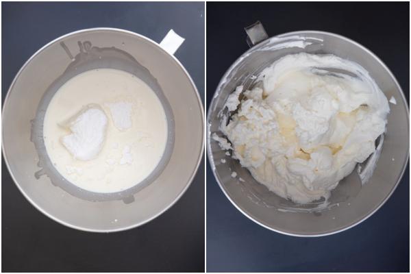 फ्रोजन क्रीम को सिल्वर मिक्सिंग बाउल में बनाना।