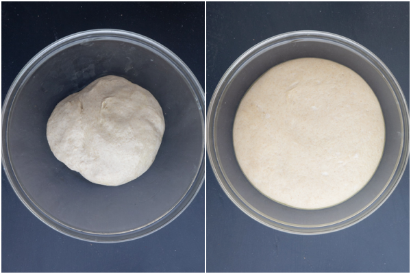 Dough in a glass bowl before & after rising.