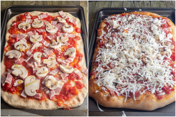 Pizza toppings added, baked pizza with shredded cheese on top before melted.
