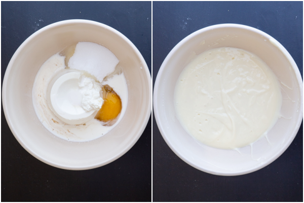 Filling ingredients in a white bowl before & after mixed.