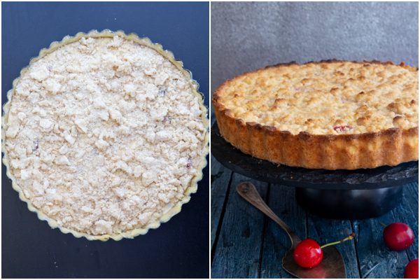 Pie before and after baked.