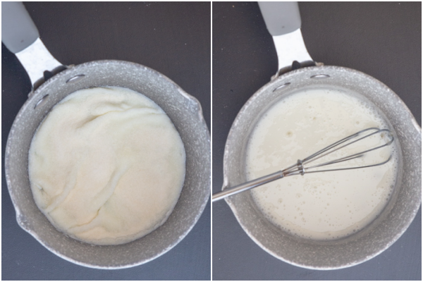 the gelatine in a pot before and after made.