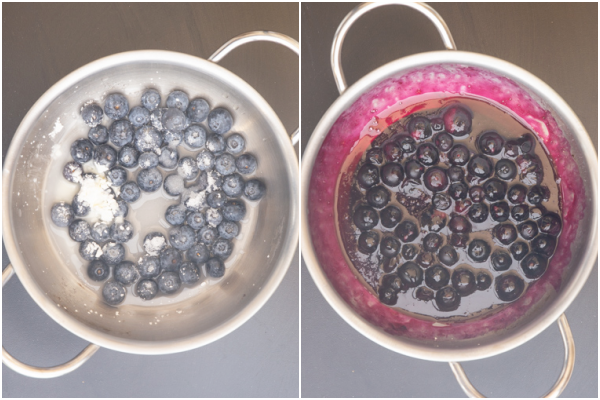 making the blueberry sauce in silver pot.