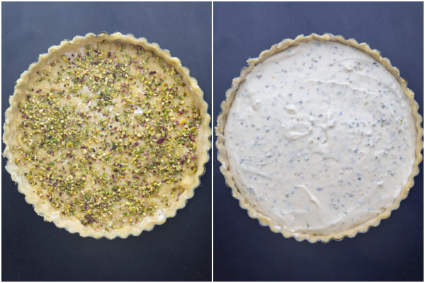 pie crust sprinkled with chopped pistachios & ricotta cream spread on top.