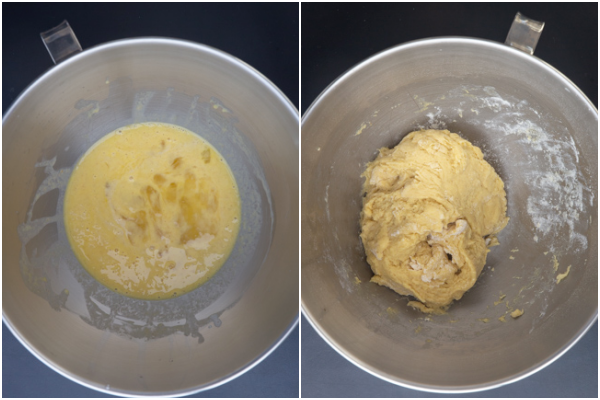 Mixing the sd starter & eggs in the bowl. The dough kneaded.