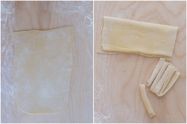 Dough rolled then folded. Some cut pasta.