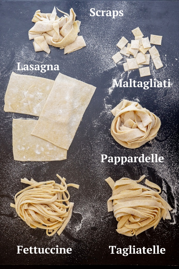 Different types of pasta with names attached.