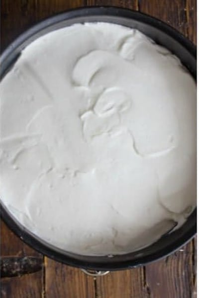 Filling mixture in a cake pan.