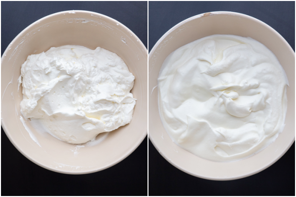 Whipped cream whipped in a white bowl & chocolate mixture folded in.