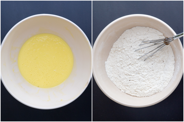 Wet ingredients beaten in a white bowl & the dry ingredients whisked in a white bowl.