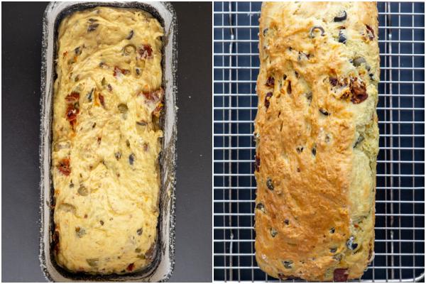 Loaf before & after baked.