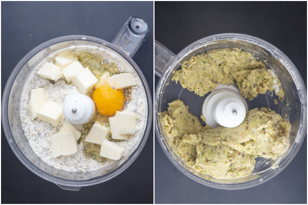 the ingredients in a food processor before and after mixed to form a dough.