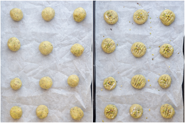 The dough balls before and after flattened with some sprinkled pistachios on top.