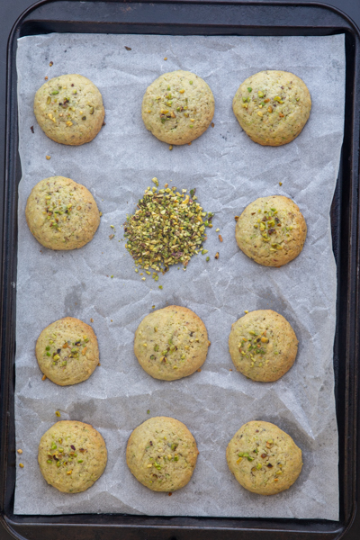 The cookies baked on a baking sheet.