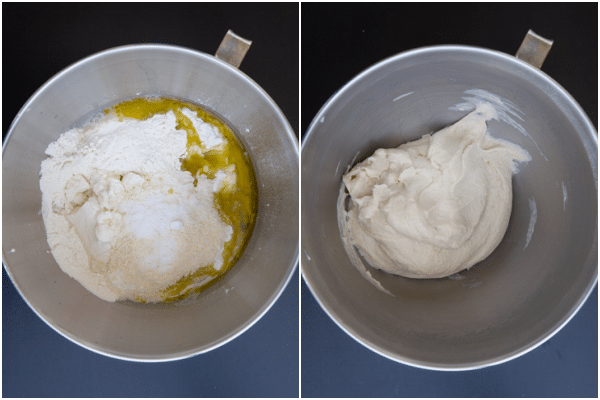 Ingredient in a silver mixing bowl before and after kneaded.