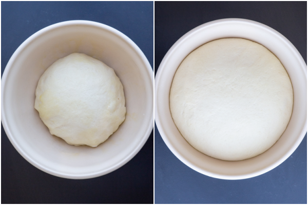 Dough in a white bowl before and after rising.