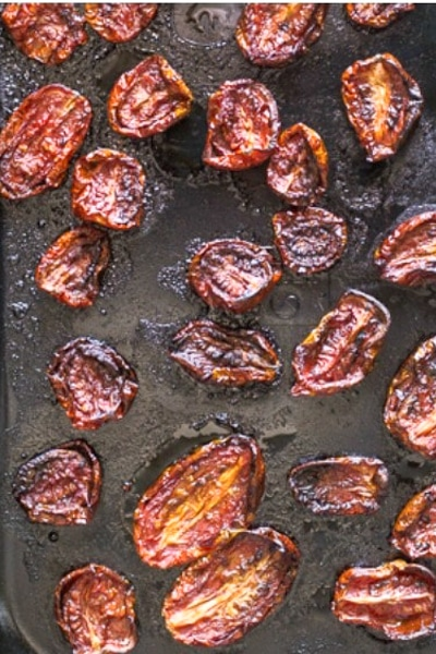Tomatoes dried from the oven.