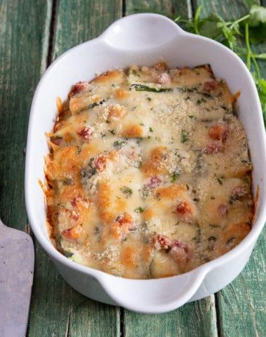 Zucchini Parmesan in baking pan.