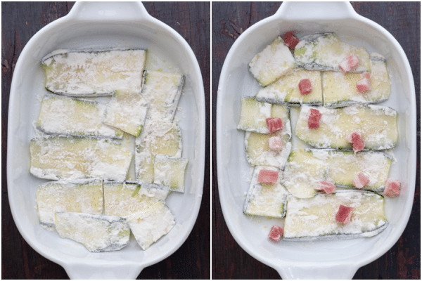 Zucchini layered in the pan with pancetta on top.