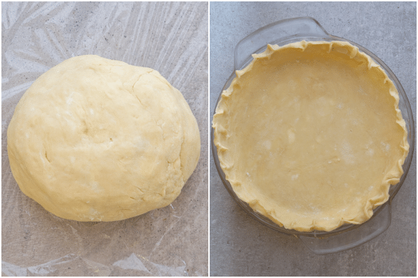 The prepared pie crust and fitted in the pie plate.