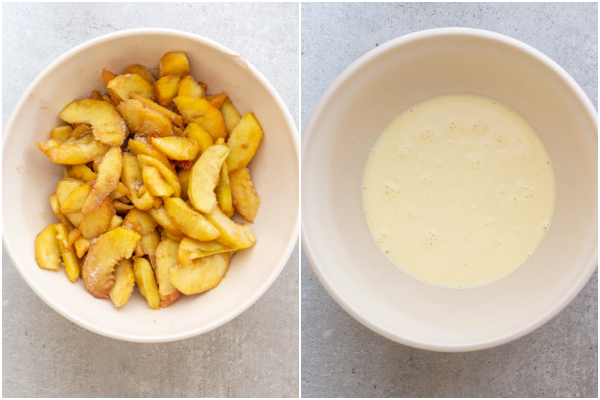 Peaches mixed with sugar mixture in a white bowl and the cream mixture in a white bowl.