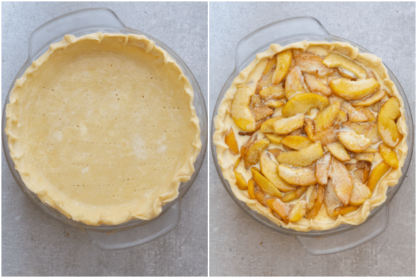 The dough in the pan with the peaches and cream filling on top.