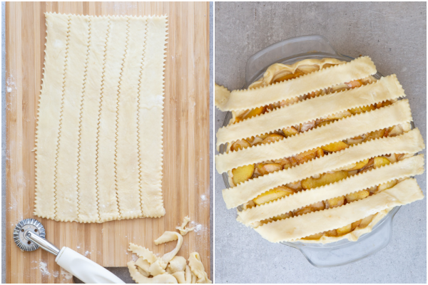 Make strips on top of the filling.