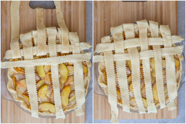 How to braid the pie strips under and over.