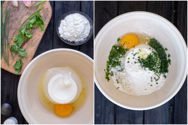 Ingredients for the fritters and mixed in a white bowl.