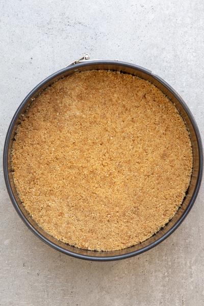 Crumb base in the cake pan.