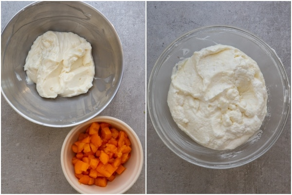 cream cheese, whipped cream, gelatine mixed. Cream cheese & chopped apricots in bowls.