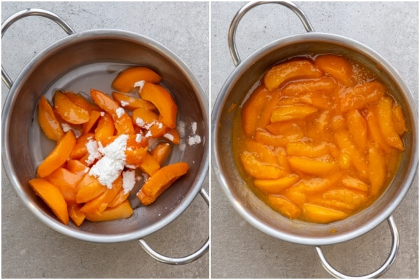 Apricots, cornstarch, sugar & water in a silver pot. Cooked in a silver pot.