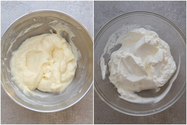 Cream cheese mixture in a bowl and whipped cream whipped.
