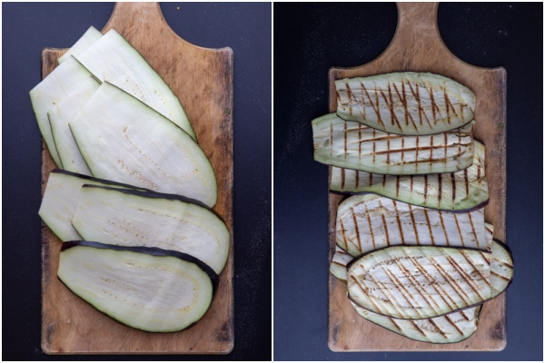 Eggplant sliced and grilled.