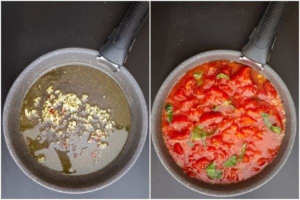 Garlic & oil in the pan and tomatoes added.