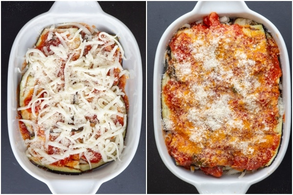 Cheese added and layers made before and after baking in a white pan.
