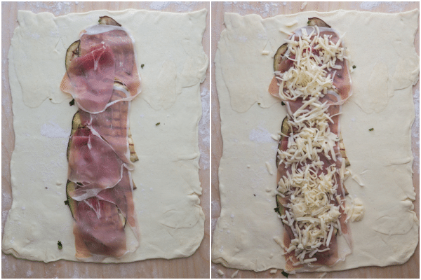 The eggplant topped with prosciutto & cheese.