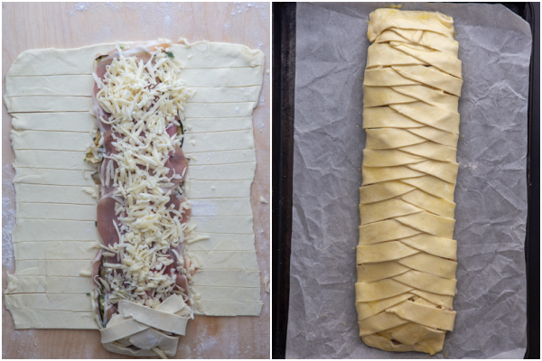 topped with more cheese and the pastry braided ready for baking.