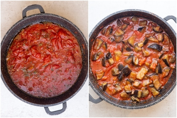 Tomato sauce in a black pan with eggplant cooked.