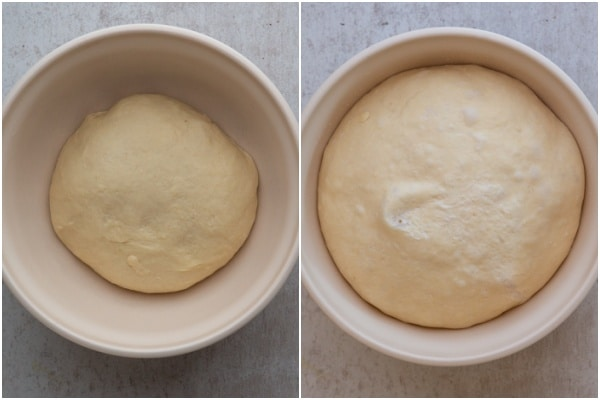Dough in the bowl before and after rising.