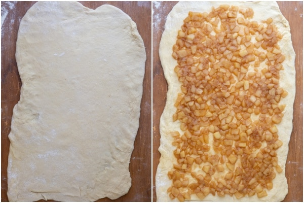 Dough rolled and spread with caramel apple mixture.