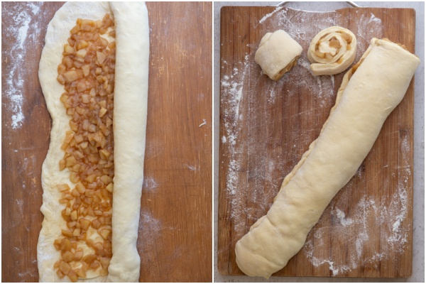 Dough rolled and cut into pieces.