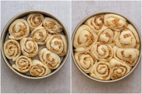 Pieces in the pan before and after rising.